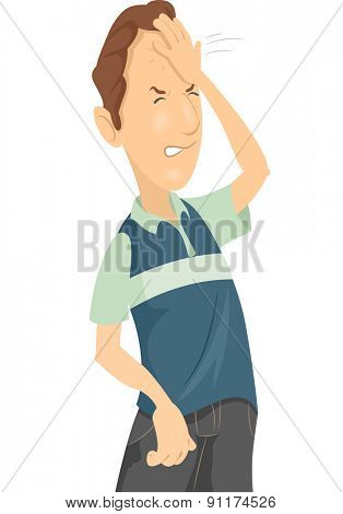 Illustration of a Man Smacking His Forehead in Frustration
