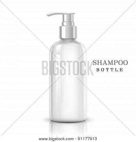 blank shampoo bottle isolated on white background poster