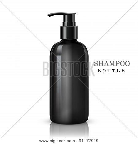 black shampoo bottle isolated on white background poster