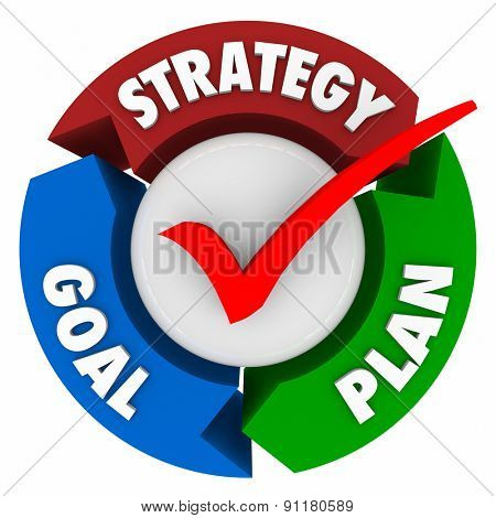 Strategy, Goal and Plan words on arrows in a circular pattern or diagram to illustrate steps taken to achieve a mission or objective and reach success