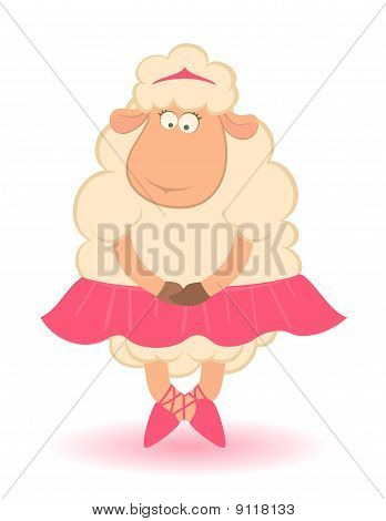 Cartoon funny sheep - ballet dancer. Beautiful illustration poster
