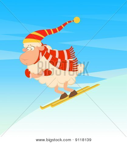 Cartoon funny skier sheep on to snow for a design poster