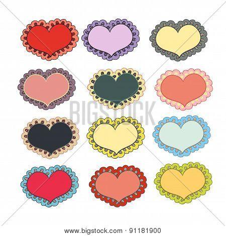 Heart shape stickers set, Vector illustration on white background
