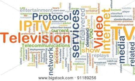 Background concept wordcloud illustration of internet protocol television IPTV