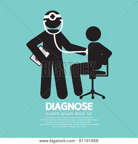 Doctor With Patient Diagnose Concept Black Symbol.