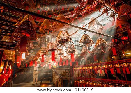 Hongkong,China-July 29,2012:hanged joss stick in hong kong buddhism temple.
