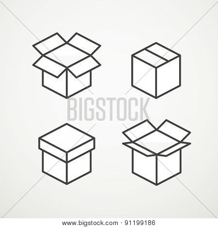 Different vector boxes collection
