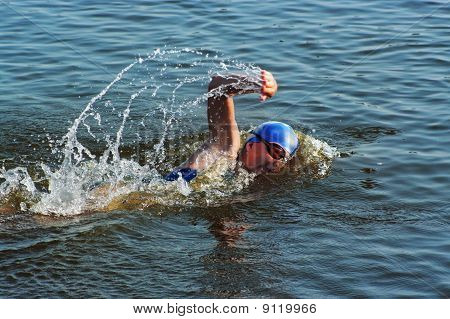 The Sportswoman Swim In Water