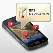 Dialog box pop up over screen of phone. Qualitative vector illustration about smartphone navigation mobile technology gps location tracking map etc. It has transparency blending modes gradients blends poster