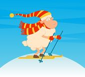 Cartoon funny skier sheep. Beautiful winter illustration poster