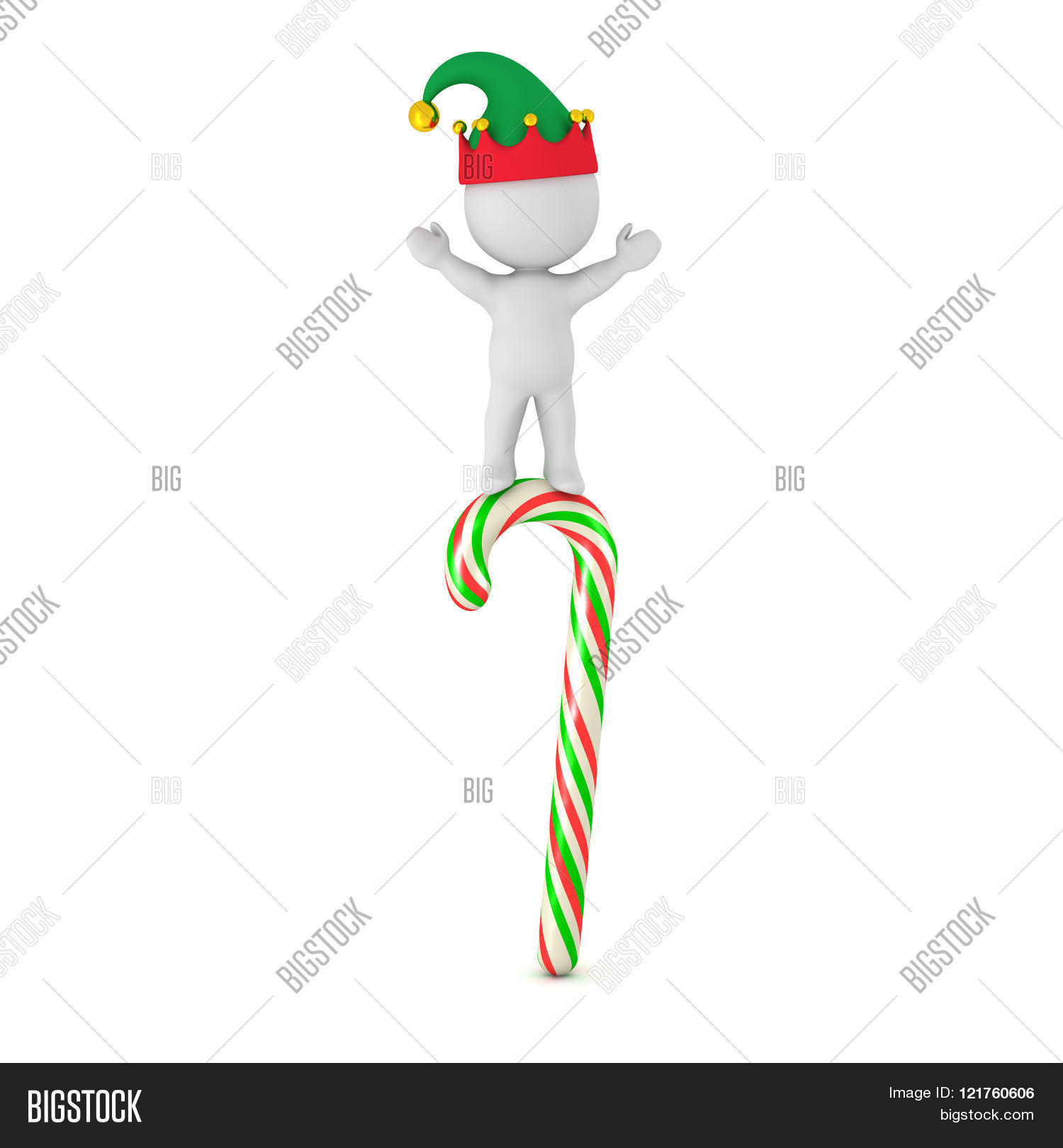daf57062f8492 Small 3D character with elf hat standing with arms raised on top of a multicolored  candy cane. Isolated on white background.