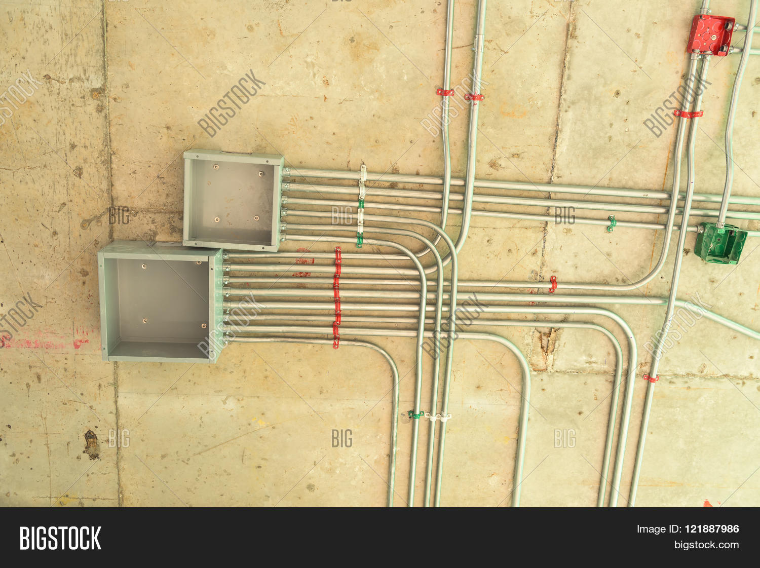 Electrical Network Image Photo Free Trial Bigstock Wire Conduit Installation On Ceiling Floor Cable