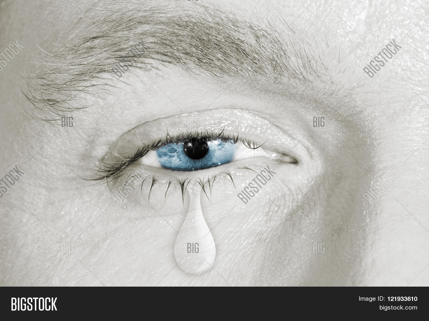Crying Blue Eye On Image Photo Free Trial Bigstock