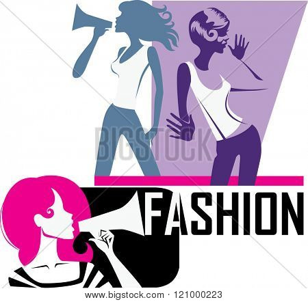 composition of girls yells into a megaphone