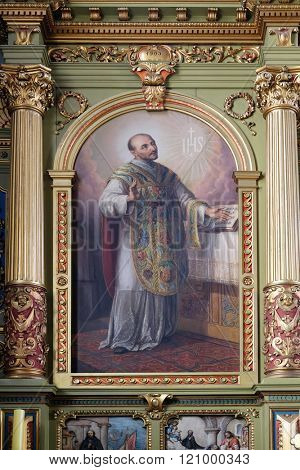 ZAGREB, CROATIA - MAY 28: Saint Ignatius of Loyola, altarpiece in the Basilica of the Sacred Heart of Jesus in Zagreb, Croatia on May 28, 2015