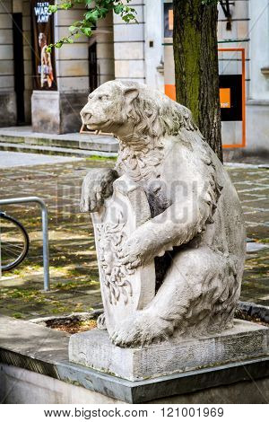 Sculpture Of A Bear With Shield In Warsaw