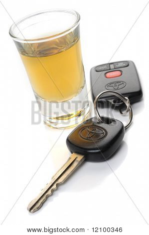 Do not drink and drive - glass of liquor and car keys on white