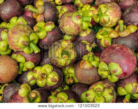 Closeup Fresh Mangosteen.