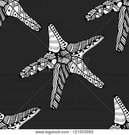 Seamless Background Of Starfish.