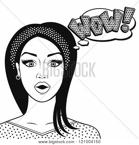 Line art suprised woman face - WOW in comics style black and white vector illustration isolated.