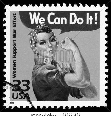 London, UK, March 22, 2012 : USA retro World War Two postage stamp showing an image of women support war effort, black and white image