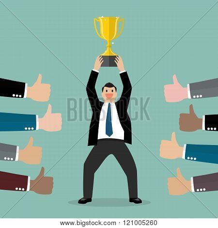 Crowd Praise Businessman Holding Up A Winning Trophy