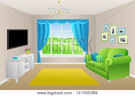 Living room blue green sofa pillows lamps window illustration vector