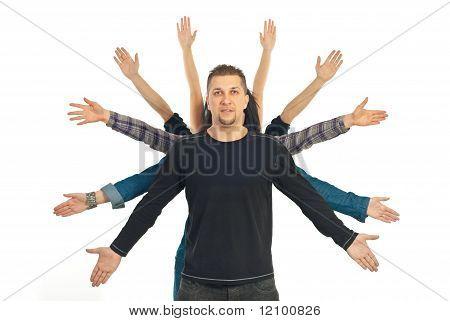 Casual Man With Ten Hands Around Him