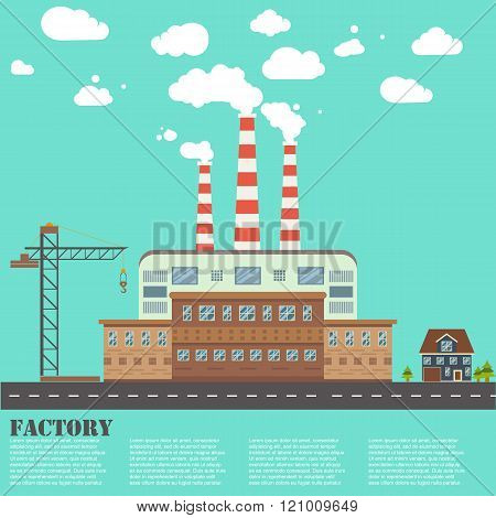Vector illustration of factory building industry and technology concept.