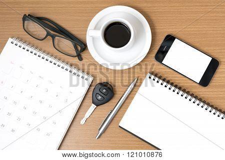Coffee And Phone With Car Key,eyeglasses,notepad,calendar