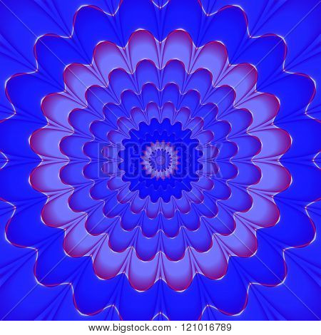 Abstract decorative fractal red blue floral mandala tile