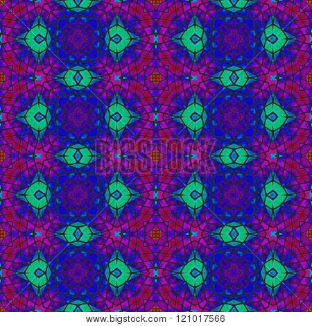Kaleidoscopic turquoise blue purple decorative floral fractal arabian tile