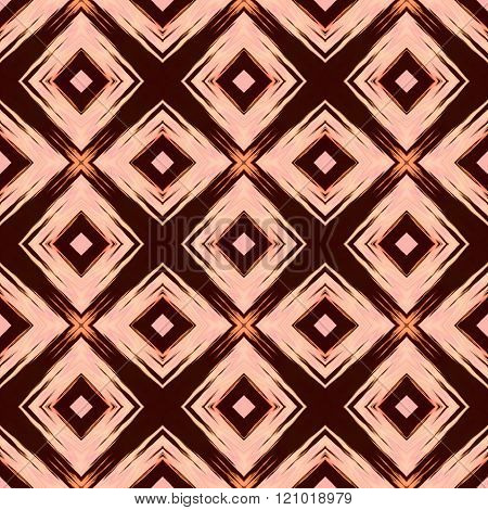 Beige brown orange retro diagonally grid cubist style pattern
