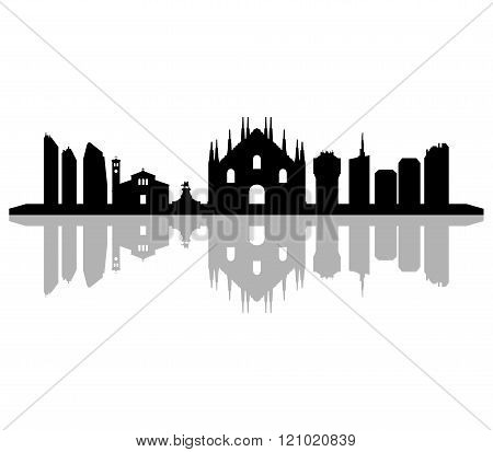 milano skyline illustrated on a white background