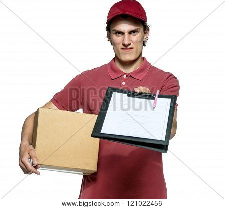 Surly courier in red uniform with a box.