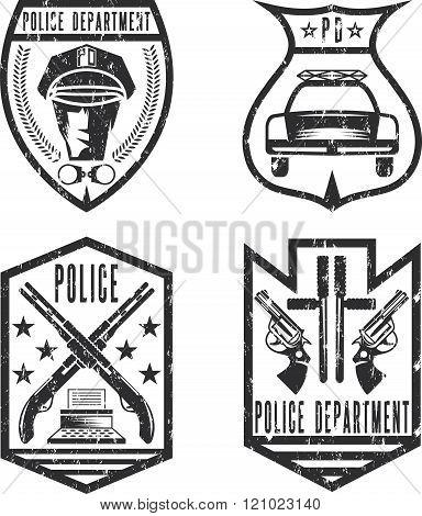 Set Of Grunge Vintage Police Law Enforcement Badges