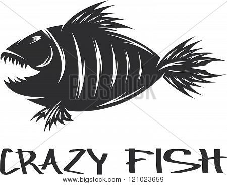 Crazy Fish Mascot Vector Design Template . Concept Of Graphic Clipart Work