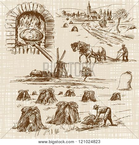 baker,bake bread, windmill - hand drawn collection