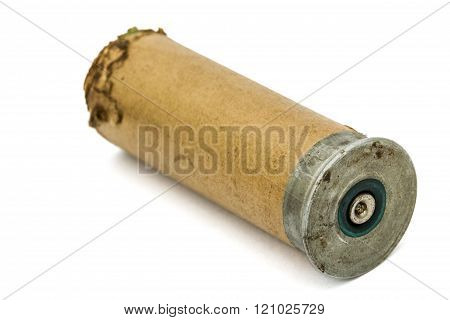Old Signal Cartridges For Flare Gun, Isolated On White Background