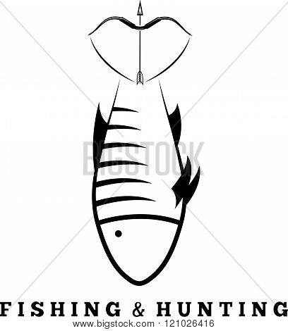 Fishing And Hunting Concept With Fish And Bow