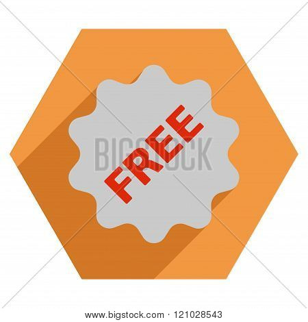 Free Token Flat Hexagon Icon with Long Shadow