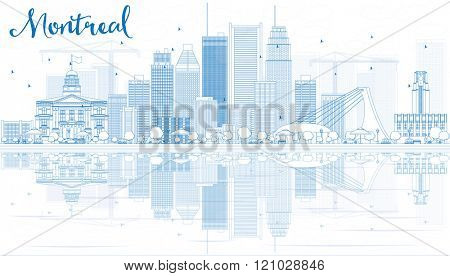 Outline Montreal skyline with Blue buildings and reflection. Vector illustration. Business travel and tourism concept with place for text. Image for presentation, banner, placard and web site.