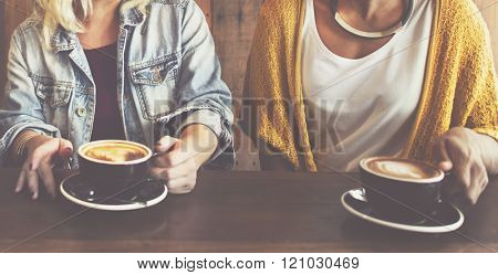 Friends Meeting Happiness Coffee Shop Concept