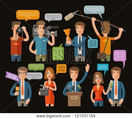 media, television or journalism icons set. vector illustration