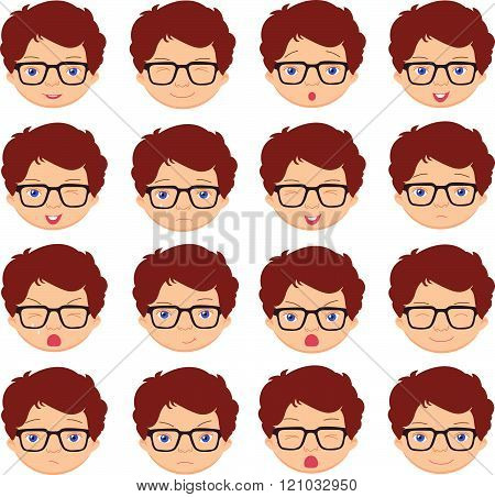 Boy With Glasses Emotions: Joy, Surprise, Fear, Sadness, Sorrow, Crying, Laughing, Cunning Wink
