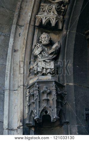 Statue Of Saint Peter On Portal Of Saint Maurice Church. Halle (saale), Germany