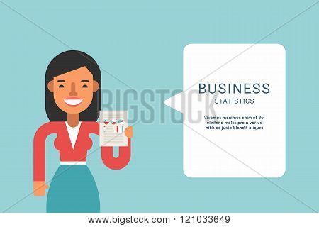 Business Concepts With Businessman Cartoon Character. Businessman With Speech Bubble. Statistics. Ve
