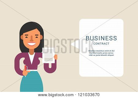 Business Concepts With Businessman Cartoon Character. Businessman With Speech Bubble. Contract. Vect