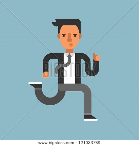 Young Businessman In Suit Running Fast. Isolated. Flat Style Vector Illustration