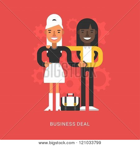 Flat Design Style Vector Illustration Concept Of Successful Partnership. Business People Cooperation